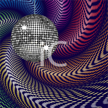 Royalty Free Clipart Image of an Abstract Swirling Background With a Disco Ball