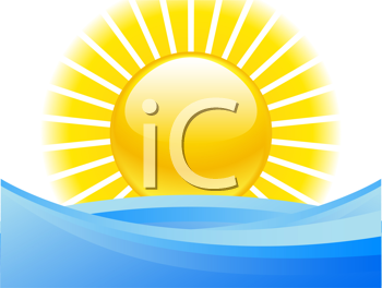 Royalty Free Clipart Image of a Sun Over Water