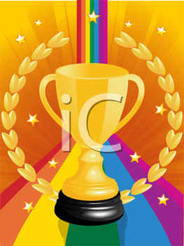 Royalty Free Clipart Image of a Gold Trophy on an Abstract Background