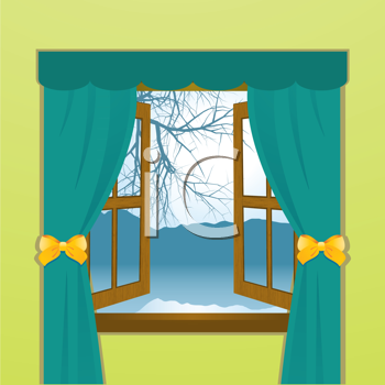 Royalty Free Clipart Image of Mountains and Lake Seen Through a Window