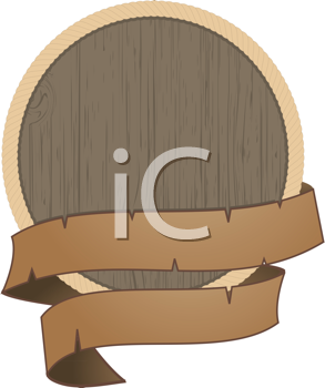 Royalty Free Clipart Image of a Wooden Shield With a Banner