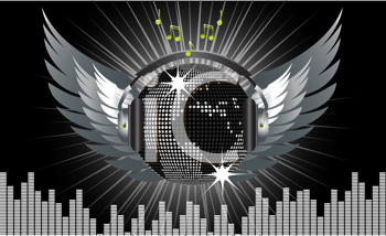 Royalty Free Clipart Image of a Silver World Disco Ball With Headphones and Wings