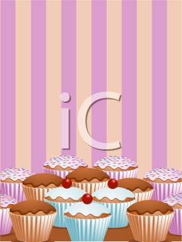 Royalty Free Clipart Image of Cupcakes