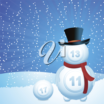 Royalty Free Clipart Image of a Bingo Snowman