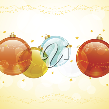 Christmas baubles on an orange background