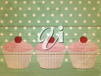 Cupcakes on a retro wooden sign