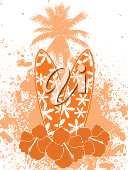 tropical background with surfboards, hibiscus flowers, palm tree and grunge on a white background