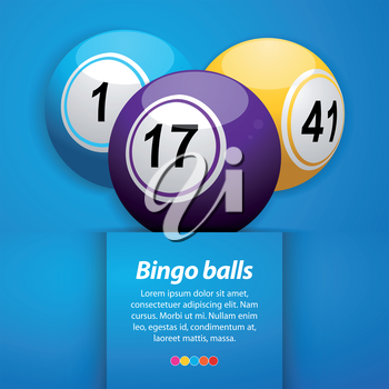 Bingo Balls on a Blue Background with Sample Text
