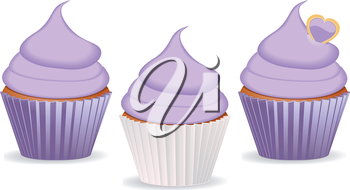 Set of cupcakes with purple or lilac icing