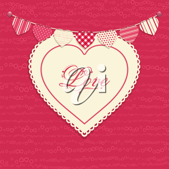 Valentine background with love heart on pink with 'love' message and bunting