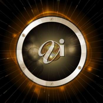Speaker with Disco Ball on the Centre on Gold and Black Background