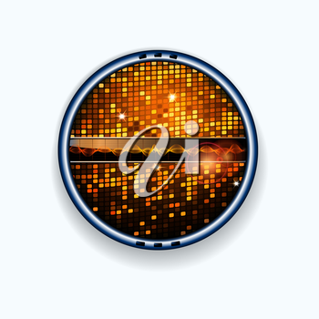 Metallic Border with Buttons Sound Wave Disco Tiles and Lens Flares Background