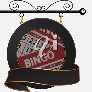 Circular Black Sign with Banner and Bingo Cards Hanging from Metal Bar