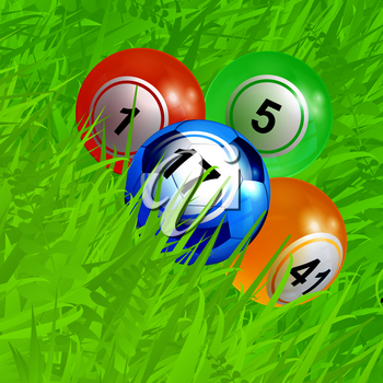 3D Illustration of Bingo Lottery Balls and Blue Football Soccer Ball with Number Over Green Grass Background