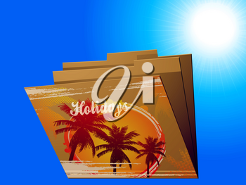 Manila Brown Folder with Printed Holidays Word Palm Trees and Abstract Sun Over Sunny Blue Sky Background