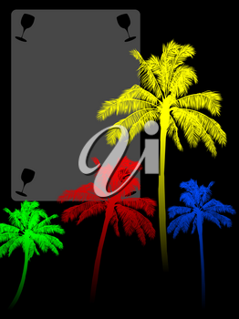 Red Yellow Blue and Green Palm Tree Silhouette Over Black Background with Copy Space Area with Cut Out Glasses