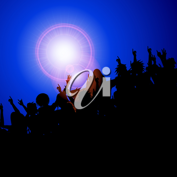 Festival Party Concert Crowd Black Silhouette With Lens Flares Over Dark Blue Background