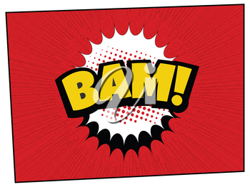 Word Bam In Yellow And Black Over Cartoons Comics Red Decorated Background With Explosion