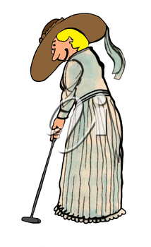 Royalty Free Clipart Image of a Woman Getting Ready to Put Her Club