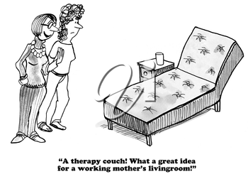 Royalty Free Clipart Image of a Women Discussing Furniture