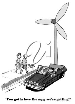Royalty Free Clipart Image of a Car With a Wind Turbine Modification