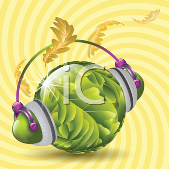 Royalty Free Clipart Image of a Leaf Ball Wearing Headphones Changing From Summer to Autumn Colours