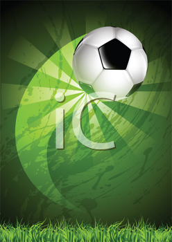 Royalty Free Clipart Image of a Flying Soccer Ball on a Curved Trajectory Over a Grunge Background