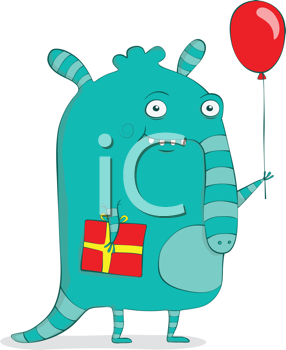 Royalty Free Clipart Image of an Anteater Holding a Present and Balloon