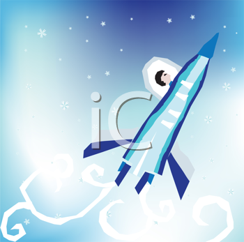 Royalty Free Clipart Image of a Person in a Rocketship
