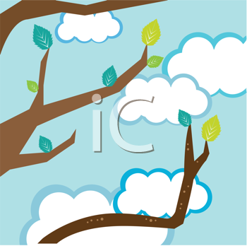 Royalty Free Clipart Image of Leaves on a Tree