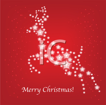 Royalty Free Clipart Image of a Starry Reindeer With the Words Merry Christmas