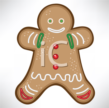 Royalty Free Clipart Image of a Gingerbread Man