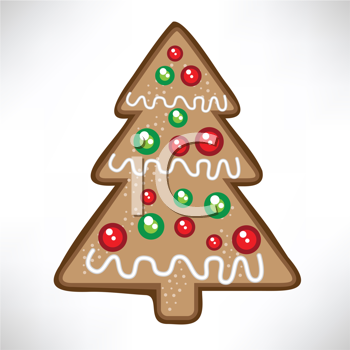 Royalty Free Clipart Image of a Christmas Tree Cookie