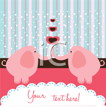 Royalty Free Clipart Image of a Romantic Elephant Background With Space for Text