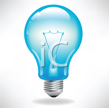 Royalty Free Clipart Image of a Blue Light Bulb