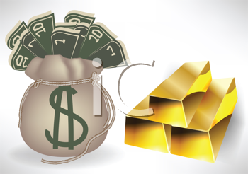 Royalty Free Clipart Image of a Bag of Money and Gold Bars