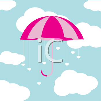 Royalty Free Clipart Image of an Umbrella in the Sky With Hearts