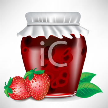strawberry jar of jam with fruit