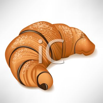 single chocolate croissant isolated on white