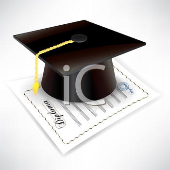 graduation cap with diploma isolated