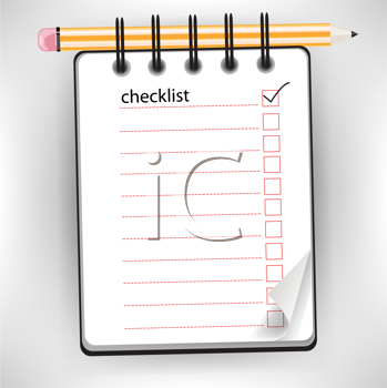 checklist notebook with pencil isolated