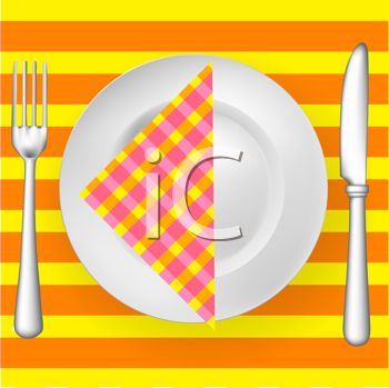 tableware on pattern with napkin (fork, knife and plate)