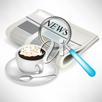 newspaper with magnifying glass and coffee with cream