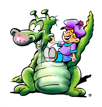 Royalty Free Clipart Image of a Green Dinosaur and Child