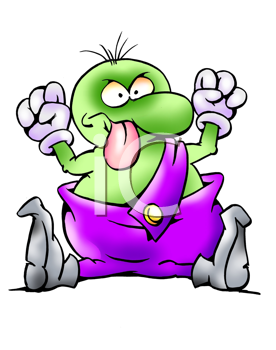Royalty Free Clipart Image of an Angry Alien