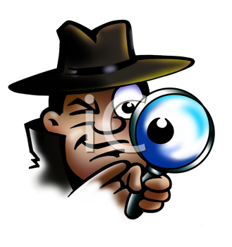 Royalty Free Clipart Image of a Spy With a Magnifying Glass