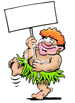 Royalty Free Clipart Image of a Pygmy With a Sign