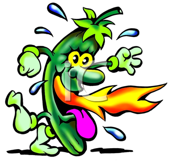 Royalty Free Clipart Image of a Chili With Fire Coming From Its Mouth