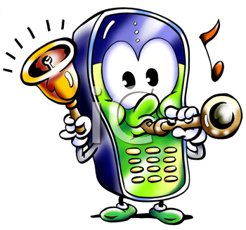 Royalty Free Clipart Image of a Cellphone Playing Ringtones