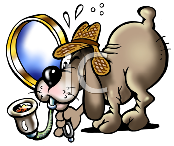 Royalty Free Clipart Image of a Dog Searching for Clues